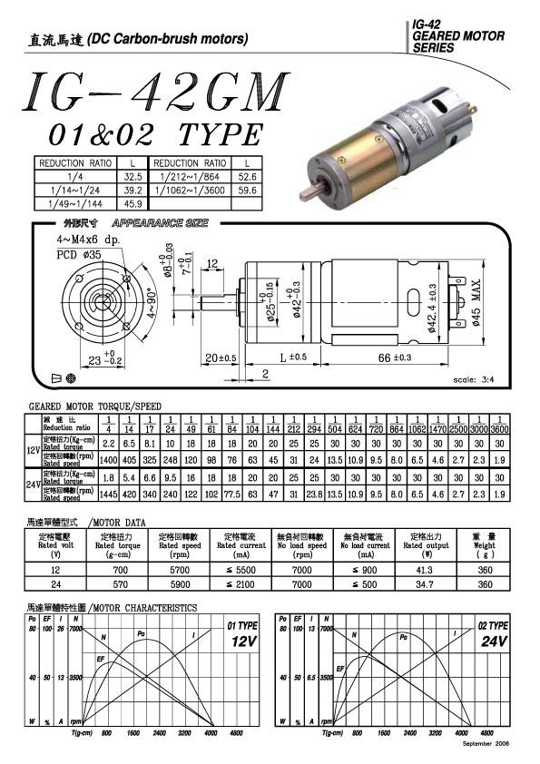 ◎Gearhead ◎Ratio : 1:4 ~ 1:3600 ◎Data sheet : IG-42 ◎12V & 24V ◎DC Motor 1.9rpm ~ 1445rpm